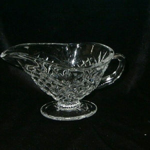 Other - Small Glass Gravy Sauce Boat With Cut Glass Design
